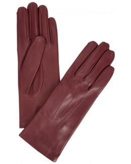 Burgundy Silk-lined Leather Gloves