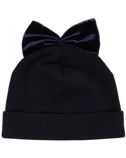 Midnight Blue Velvet-bow Wool Beanie