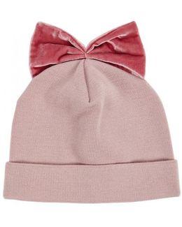 Light Pink Velvet-bow Wool Beanie