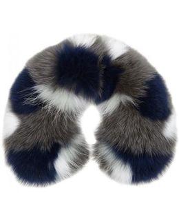 Colour-block Fur Collar