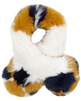 Colour-block Fur Scarf