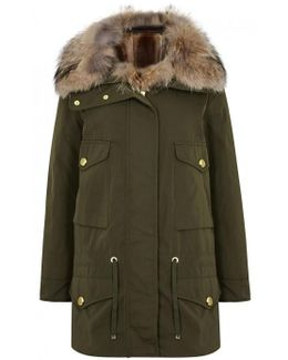 Margarita Olive Shell Coat And Fur Gilet - Size 0