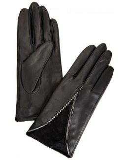 Layla Black Leather And Calf Hair Gloves