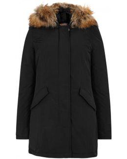 Luxury Arctic Black Fur-trimmed Parka