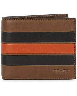 Brown Striped Leather Wallet
