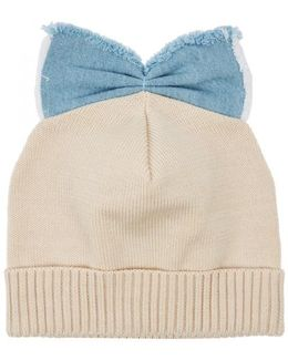 Sand Bow-embellished Cotton Beanie