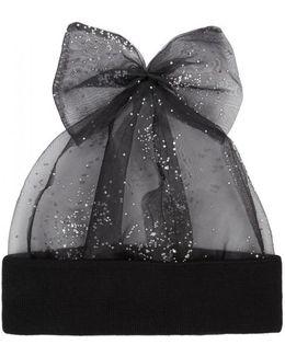 Black Crystal-embellished Tulle Beanie