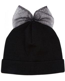 Black Bow-embellished Wool Beanie