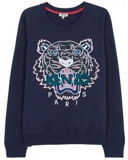 Navy Tiger-appliqu'd Cotton Sweatshirt - Size M