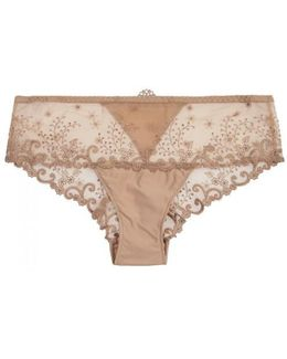 Delice Embroidered Tulle Briefs - Size 2