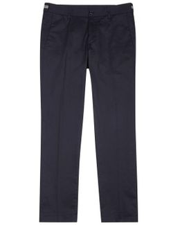 Navy Stretch Cotton Chinos - Size W30