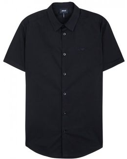 Navy Stretch Poplin Shirt - Size L