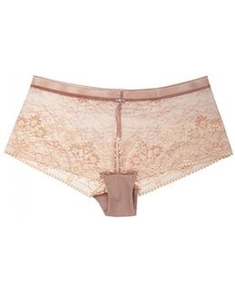 Frivole Blush Lace Boy Shorts - Size M