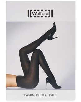 Black Cashmere And Silk Blend Tights - Size L