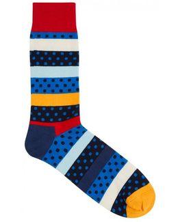 Dotted Stripe Cotton Blend Socks