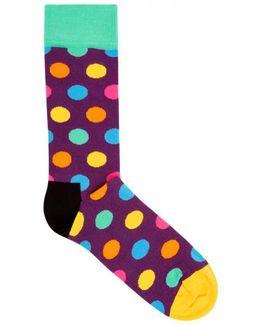 Big Dot Cotton Blend Socks - Size One Size