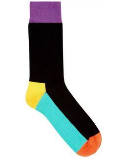 Colour-block Cotton Blend Socks - Size One Size