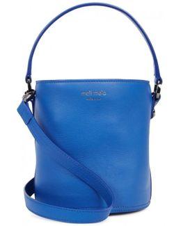 Santina Mini Blue Leather Bucket Bag