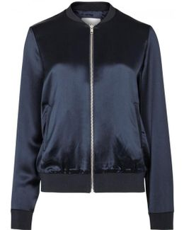 Cara Midnight Blue Satin Bomber Jacket