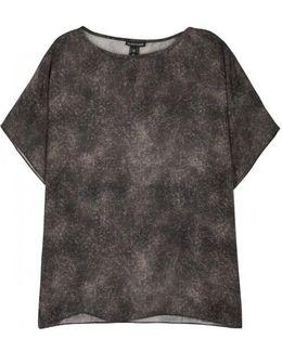 Brown Printed Silk Top