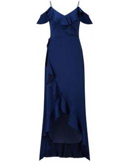 Shoulder Flounce Evening Dress