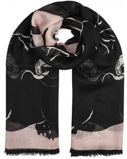 Panther-print Cashmere Blend Scarf