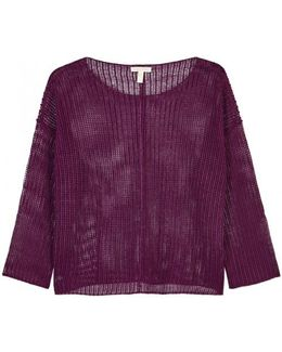 Purple Open-knit Organic Linen Jumper