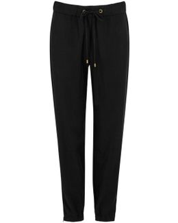 Black Tapered Tencel Trousers