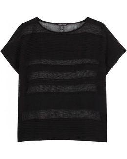 Black Striped Linen Blend Top