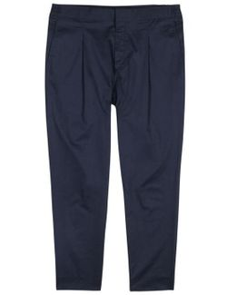 Cropper Navy Stretch Cotton Trousers