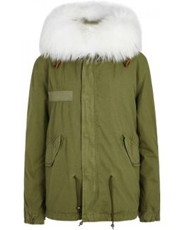 Army Green Fur-trimmed Cotton Parka