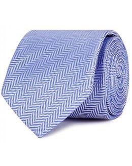 Blue Herringbone Silk Tie