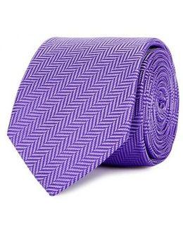 Purple Herringbone Silk Tie