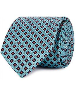 Aqua Diamond Silk Jacquard Tie