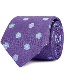 Purple Floral Silk Jacquard Tie