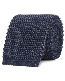 Navy Knitted Cotton Tie