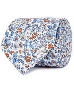Printed Cotton And Silk Blend Tie