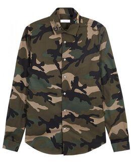Camouflage Embellished Cotton Shirt