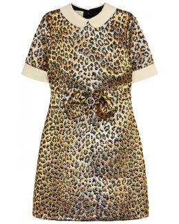 Leopard-jacquard Lurex Dress