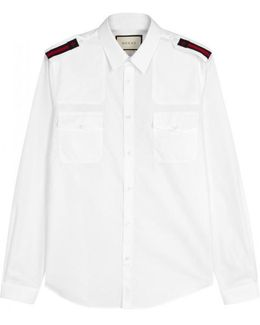 White Bee-embroidered Cotton Shirt