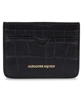 Black Crocodile-effect Leather Card Holder
