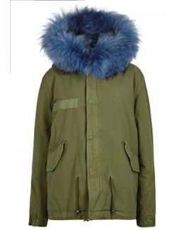 Army Green Fur-lined Cotton Parka