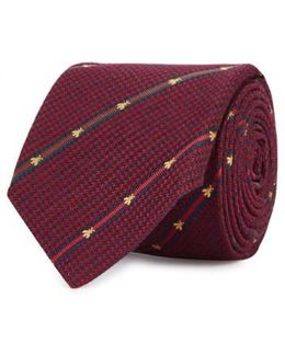 Bee Web Burgundy Silk Tie