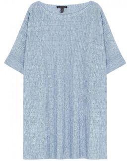 Blue Fine-knit Linen Top