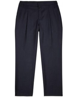 Cropper Navy Stretch Wool Trousers
