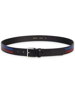 Black Striped Leather Belt