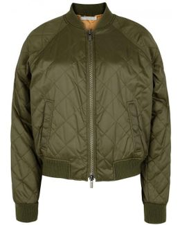 Olive Quilted Shell Bomber Jacket