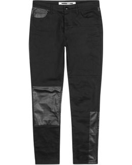 Black Leather-panelled Jeans