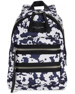 Navy Printed Nylon Backpack