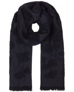 Navy Floral-jacquard Scarf
